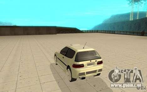 Honda Civic 1992 pour GTA San Andreas sur la vue arrière gauche