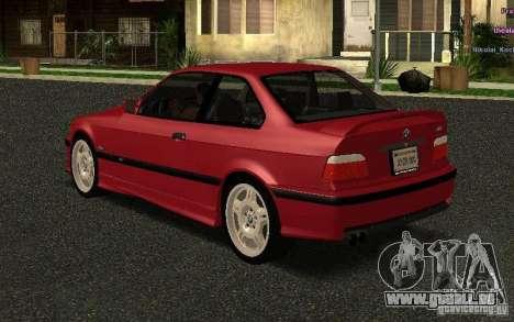 BMW E36 M3 1997 Coupe Forza pour GTA San Andreas sur la vue arrière gauche