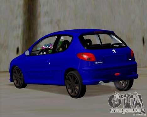 Peugeot 206 pollo style pour GTA San Andreas sur la vue arrière gauche