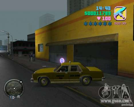 Ford Crown Victoria LTD 1985 Taxi für GTA Vice City zurück linke Ansicht