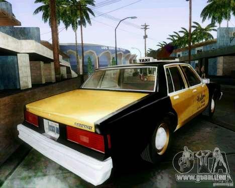 Chevrolet Impala 1986 Taxi Cab pour GTA San Andreas laissé vue