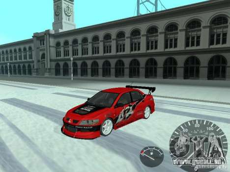 Mitsubishi Lancer Evolution 8 FQ400 pour GTA San Andreas vue de côté