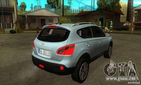 Nissan Qashqai 2011 pour GTA San Andreas vue de droite