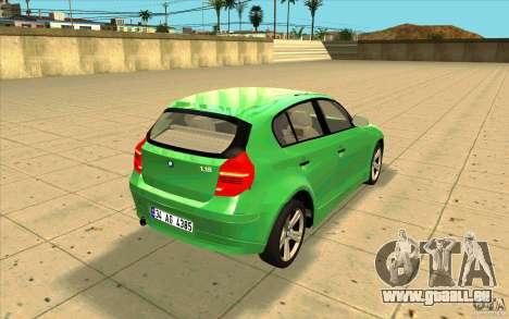 BMW 118i für GTA San Andreas Seitenansicht