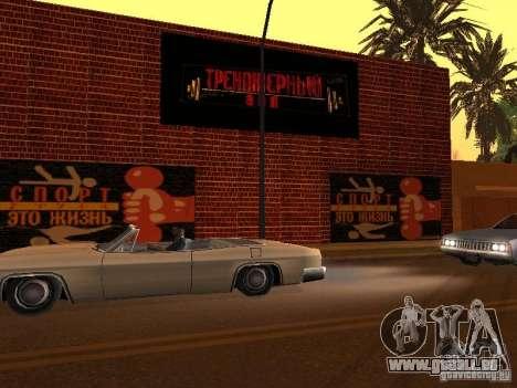 Nouvelle salle de sport pour GTA San Andreas cinquième écran