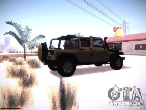 Jeep Wrangler Rubicon Unlimited 2012 pour GTA San Andreas vue de droite