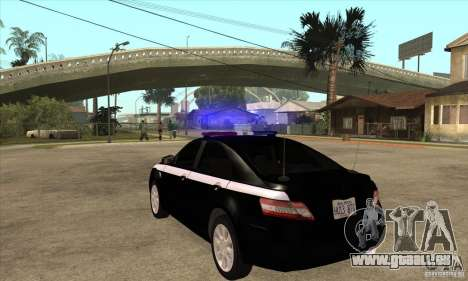 Toyota Camry 2010 SE Police RUS für GTA San Andreas zurück linke Ansicht