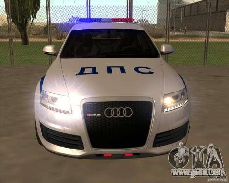 Audi RS6 2010 DPS pour GTA San Andreas vue intérieure