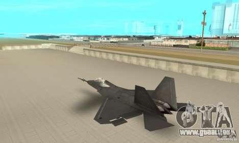 YF-22 Black pour GTA San Andreas sur la vue arrière gauche