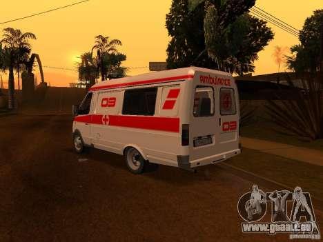 Ambulances de la Gazelle pour GTA San Andreas sur la vue arrière gauche