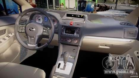 Subaru Impreza Sedan 2012 pour GTA 4 vue de dessus
