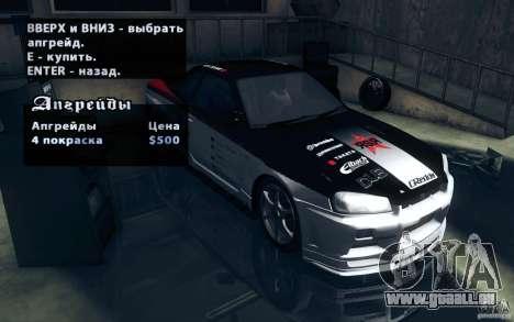 Nissan Skyline GTR R34 VSpecII pour GTA San Andreas vue arrière