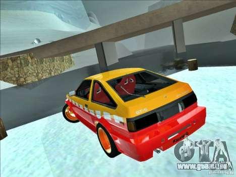 Toyota Trueno AE86 Calibri-Ace pour GTA San Andreas sur la vue arrière gauche