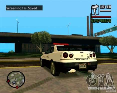 Nissan Skyline Japan Police pour GTA San Andreas sur la vue arrière gauche