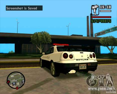 Nissan Skyline Japan Police für GTA San Andreas zurück linke Ansicht