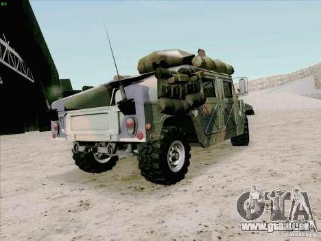 Hummer H1 pour GTA San Andreas sur la vue arrière gauche