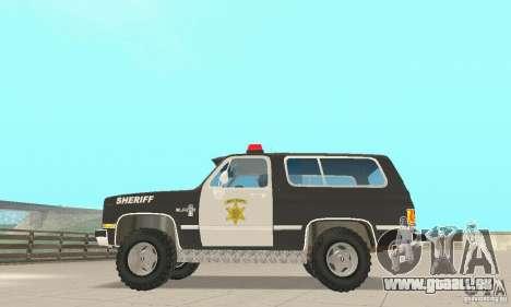 Chevrolet Blazer Sheriff Edition pour GTA San Andreas vue arrière