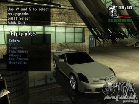 Cadillac XLR pour GTA San Andreas vue arrière