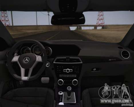 Mercedes-Benz C63 AMG Black Series für GTA San Andreas zurück linke Ansicht
