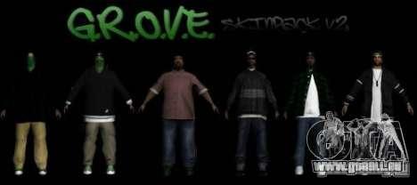 Nouvelle famille de Groove street skins V2 pour GTA San Andreas