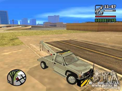 GMC Sierra Tow Truck pour GTA San Andreas vue intérieure