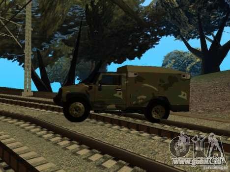 Hummer H2 Army für GTA San Andreas zurück linke Ansicht