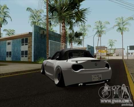 BMW Z4 Hellaflush pour GTA San Andreas sur la vue arrière gauche