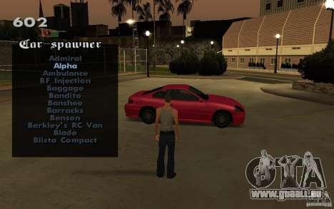 Vehicles Spawner pour GTA San Andreas cinquième écran