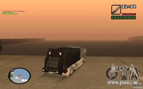 Scania T164 camion à ordures pour GTA San Andreas sur la vue arrière gauche
