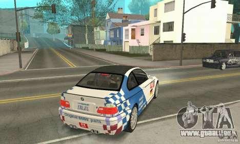 BMW M3 Tunable pour GTA San Andreas vue de dessous