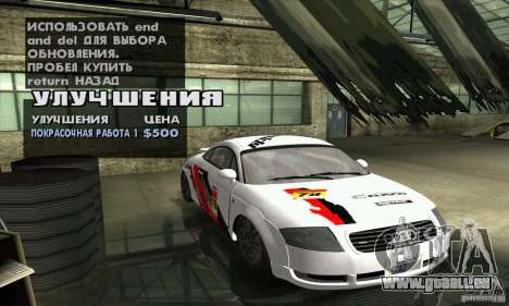 Audi TT Light Tuning pour GTA San Andreas vue intérieure