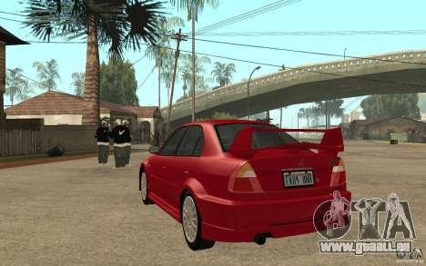 Mitsubishi Lancer Evolution VI GSR 1999 pour GTA San Andreas sur la vue arrière gauche