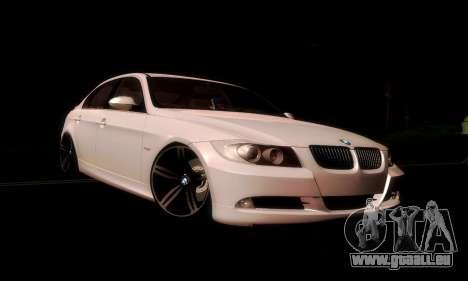 BMW 330 E90 pour GTA San Andreas sur la vue arrière gauche