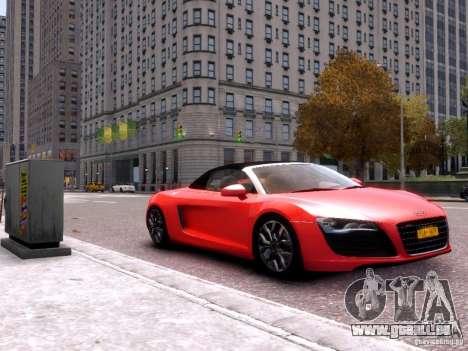 Audi R8 Spyder 5.2 FSI quattro V4 EPM pour GTA 4 Vue arrière de la gauche