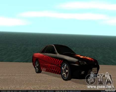 Nissan Skyline R32 GT-R + 3 de vinyle pour GTA San Andreas sur la vue arrière gauche