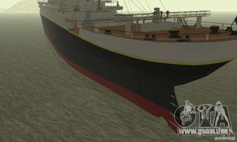 RMS Titanic pour GTA San Andreas sur la vue arrière gauche