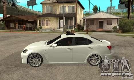 Lexus IS F 2009 pour GTA San Andreas sur la vue arrière gauche