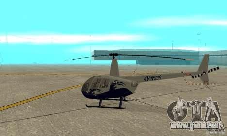 Robinson R44 Raven II NC 1.0 4 de la peau pour GTA San Andreas sur la vue arrière gauche