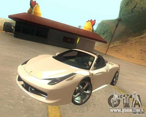 Ferrari 458 Italia Convertible für GTA San Andreas Innenansicht