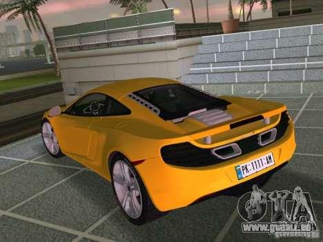 Mclaren MP4-12C für GTA Vice City Innenansicht