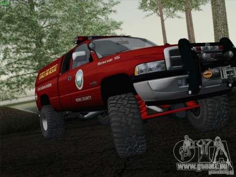 Dodge Ram 3500 Search & Rescue pour GTA San Andreas sur la vue arrière gauche