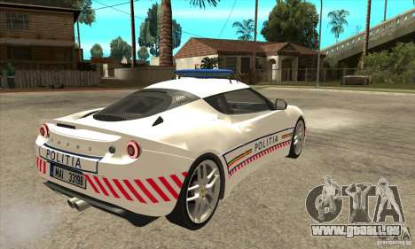Lotus Evora S Romanian Police Car für GTA San Andreas rechten Ansicht