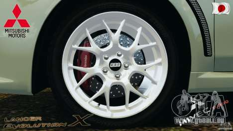 Mitsubishi Lancer Evolution X 2007 pour GTA 4 est une vue de l'intérieur