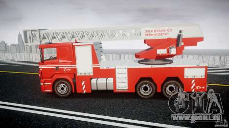 Scania Fire Ladder v1.1 Emerglights blue [ELS] für GTA 4 linke Ansicht