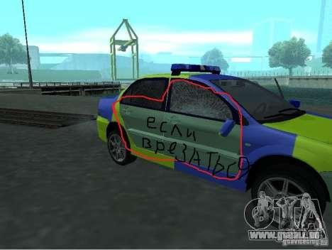 Mitsubishi Lancer-Polizei für GTA San Andreas Rückansicht