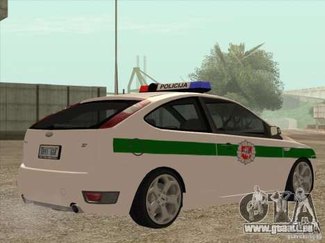 Ford Focus ST Policija für GTA San Andreas rechten Ansicht