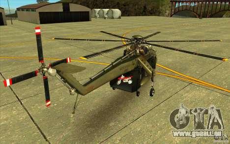 Sikorsky CH-54 Tarhe pour GTA San Andreas sur la vue arrière gauche