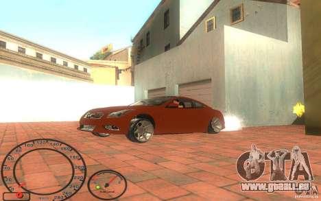 Infiniti G37 Vossen für GTA San Andreas zurück linke Ansicht