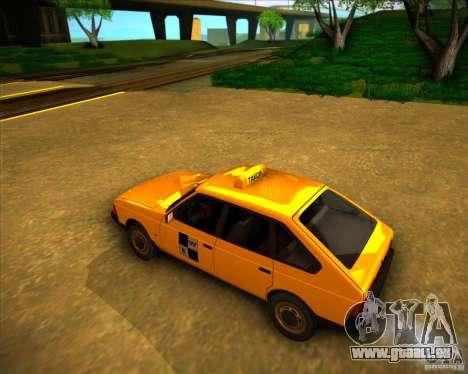Taxi AZLK 2141 pour GTA San Andreas sur la vue arrière gauche