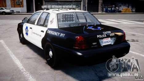 Ford Crown Victoria SFPD K9 Unit [ELS] pour GTA 4 Vue arrière de la gauche